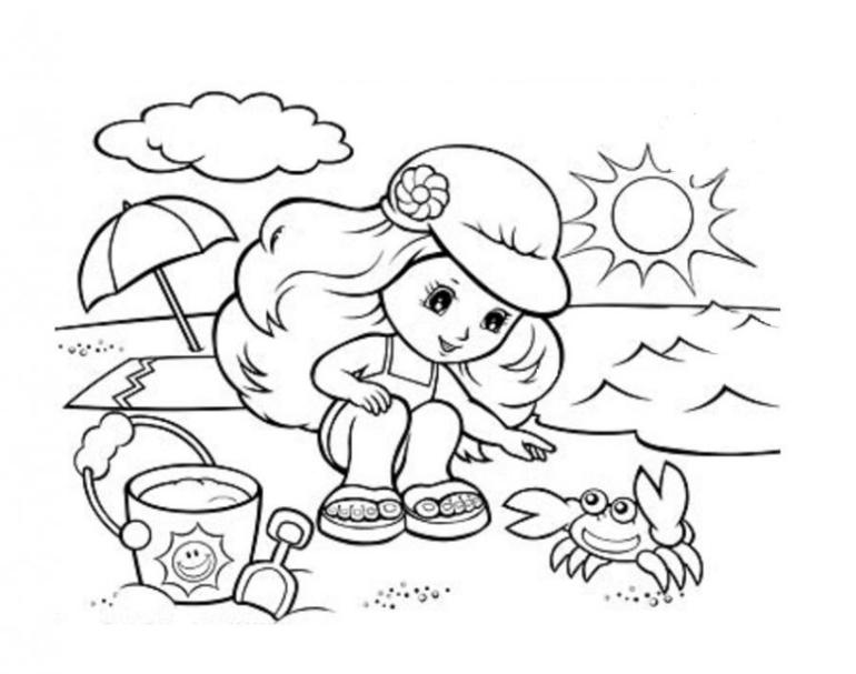 Дети и лето раскраски