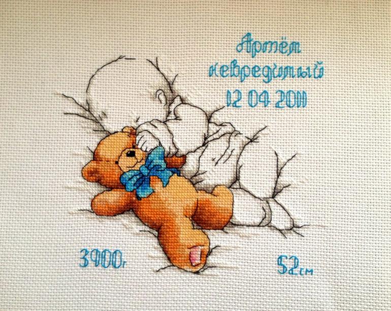 Схема вышивки крестом малыш с мишкой 83