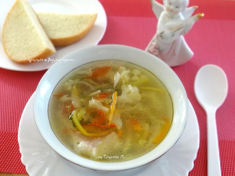 суп с цветной капустой и вермишелью
