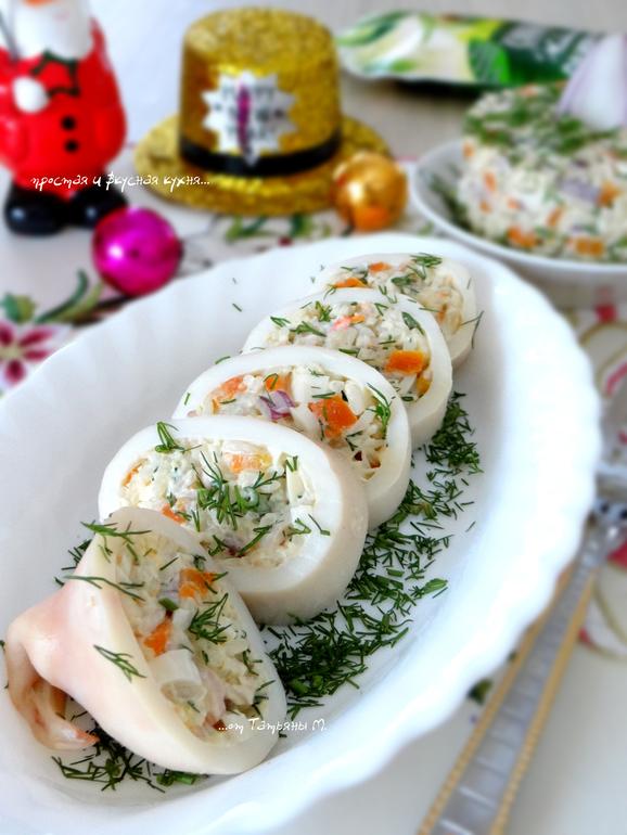 оригинальные салаты и закуски с кальмарами, рецепты с фотографиями