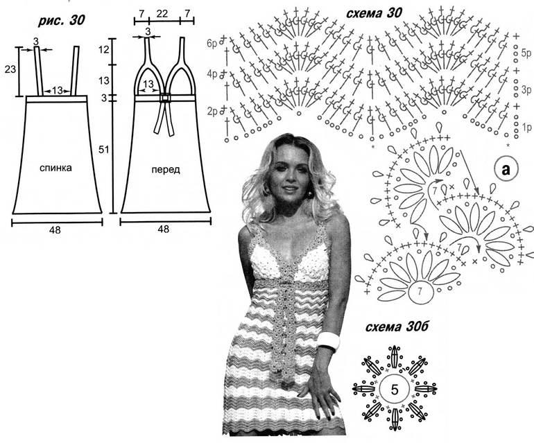 крючком схемы летние сарафаны вязания