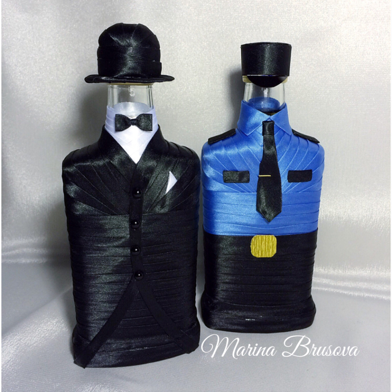 Как украсить бутылку коньяка для мужчины рыбака