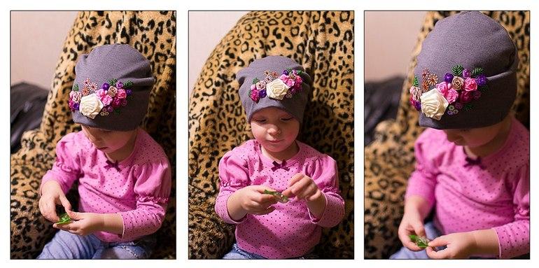 141Детские шапочки с цветами своими руками