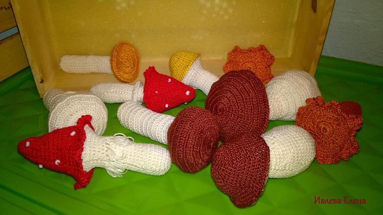 Вязание крючком грибков
