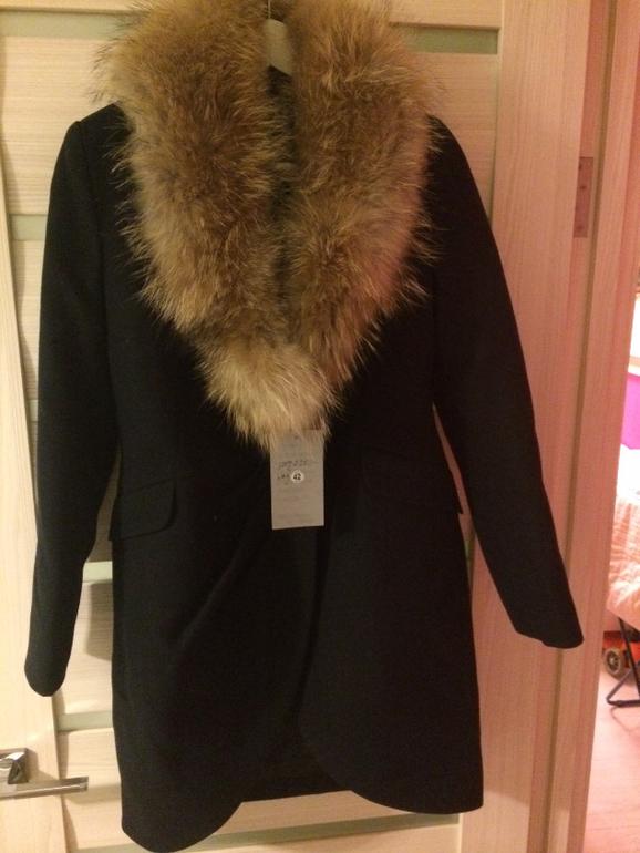 зимнее синее пальто с мехом фото