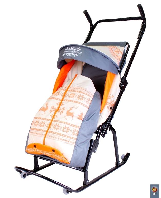 Новые санки-коляска Герда 4-Р3 с 4 колесиками - 2800 руб.