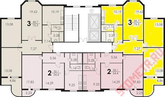 Серия п3 трехкомнатная 3 балкона типовая планировка..