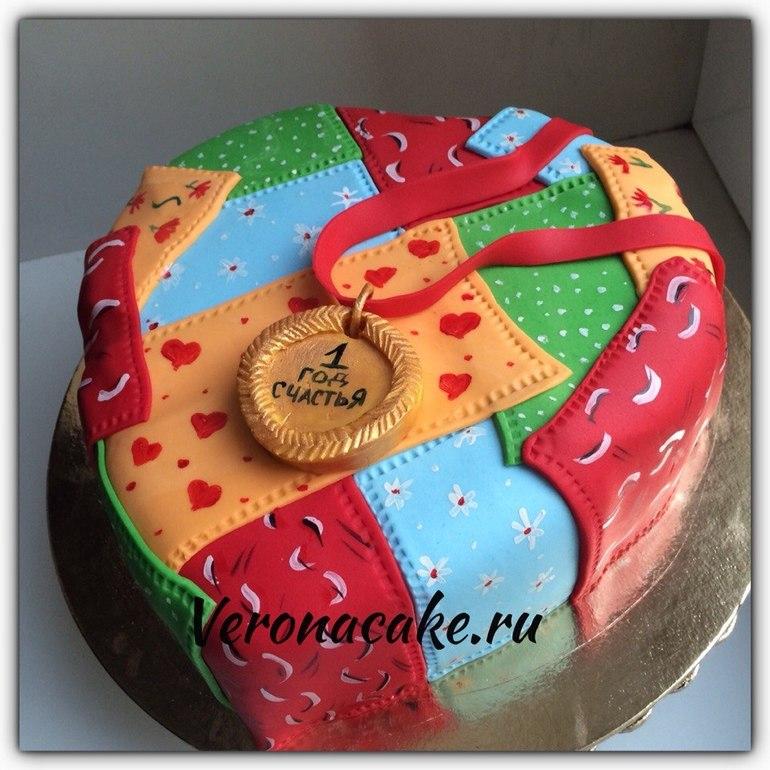 Фото торт на ситцевую свадьбу