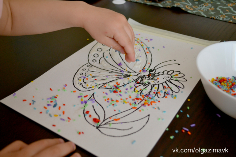 Как покрасить манку для поделок гуашью 54