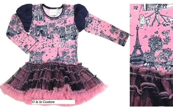 OlalaCouture 5л платье ПАРИЖ дл\рук (розовое с синим) - 1500 руб