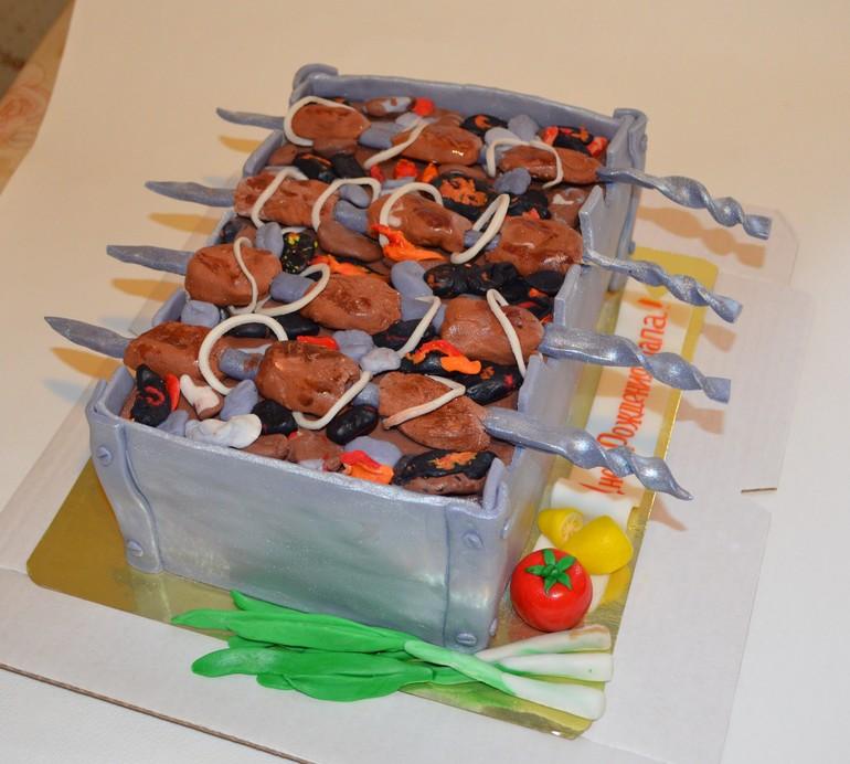 Торт в подарок моему мужу,большому любителя шашлыка, которому сегодня идея пренадлежит не мне.