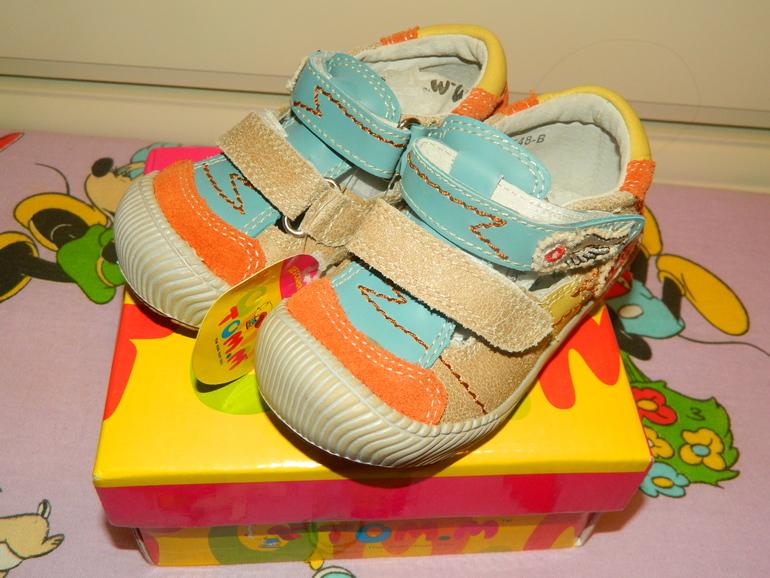 Новые летние туфли кожа том.м 23 р-р 13.5 см. 400 руб