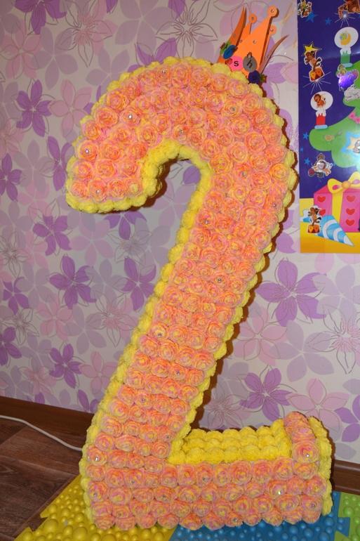 Цифра 2 на день рождения из салфеток своими руками
