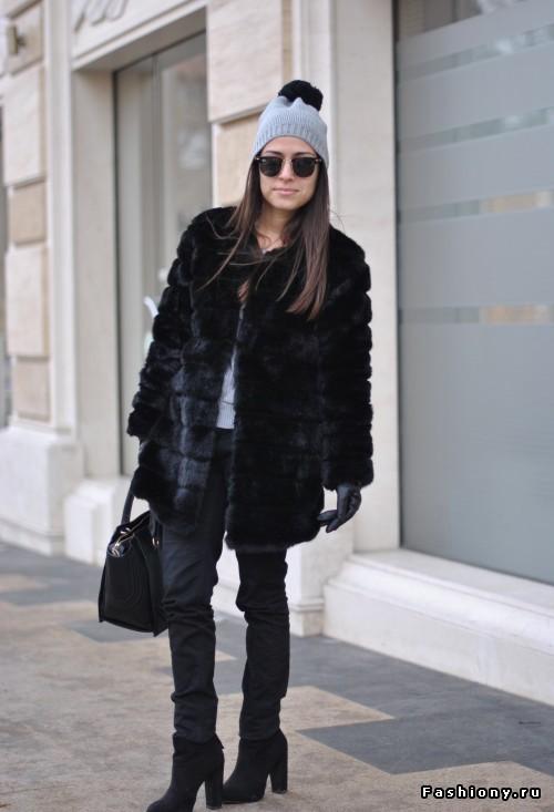 Чёрная шуба с чем носить