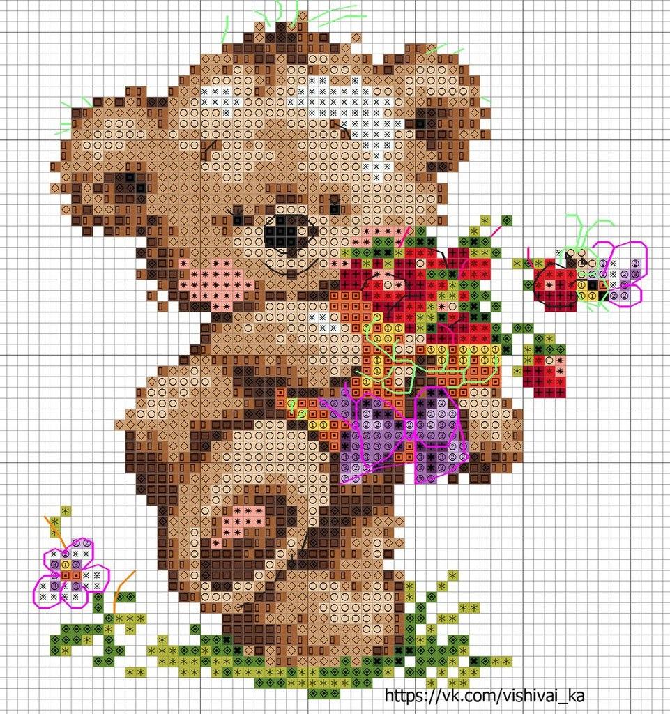 Красивые, медвежонок поздравления схемы вышивки