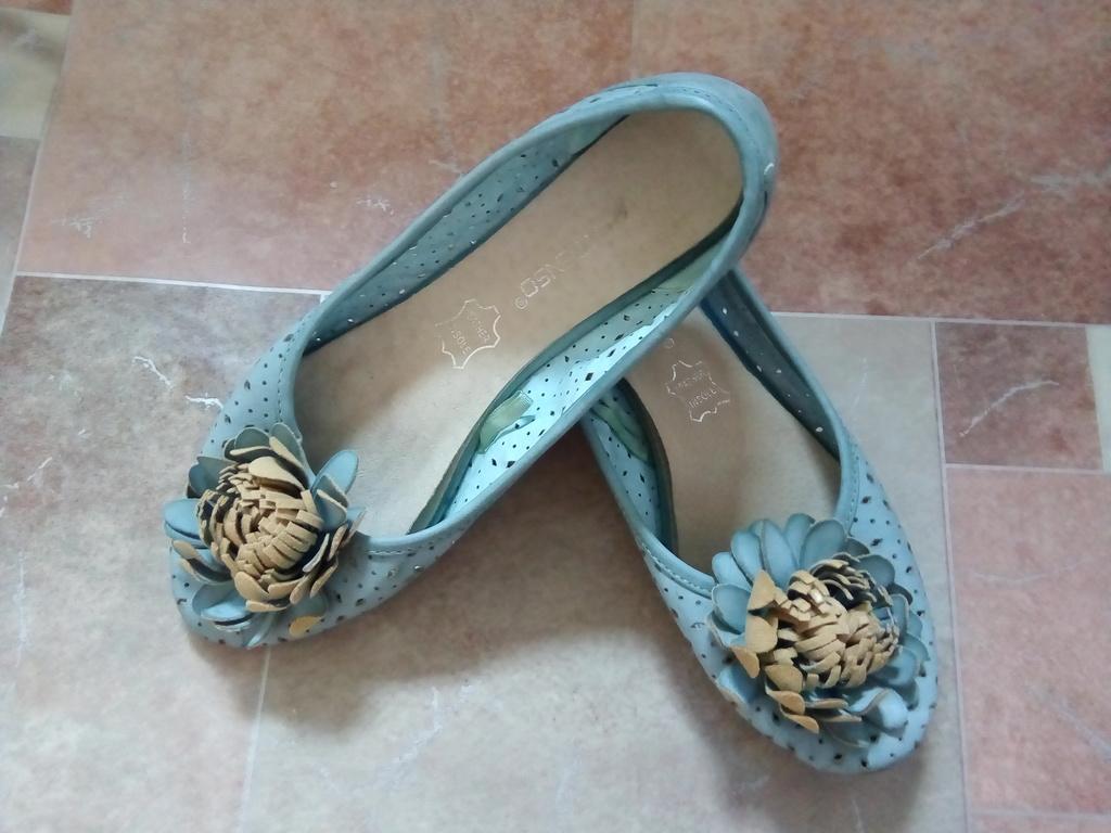Туфли балетки р.36 цвет голубой, летний вариант..