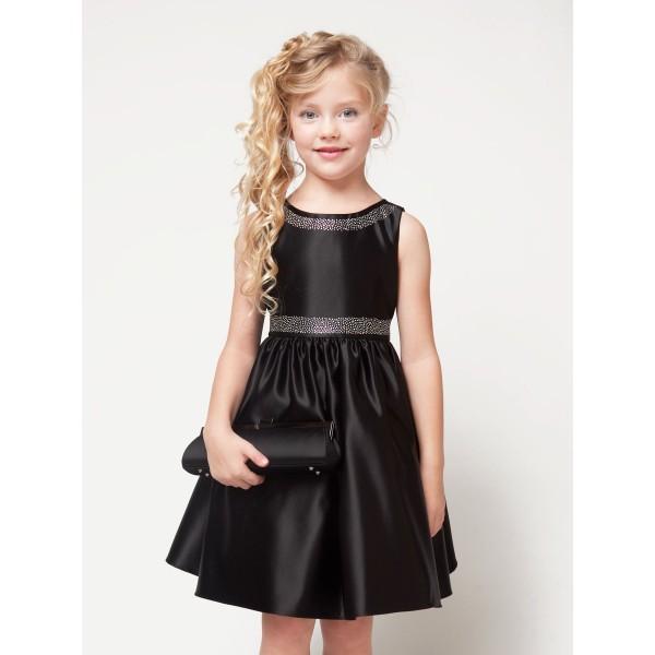 Черное платье с цветами для девочки