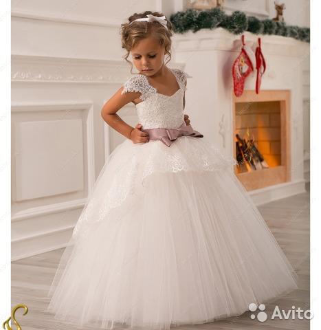 пышные детские платья в пол.