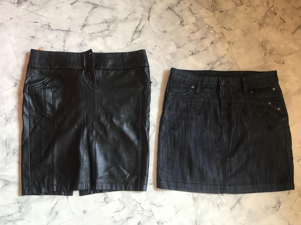 юбка из эко-кожи и джинсовая Roberto Cavalli р