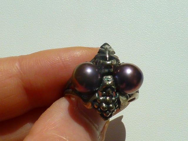 """кольцо перстень серебро 925* с нат.жемчугом """"лоза"""""""