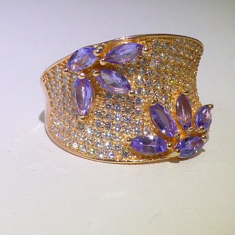 кольцо перстень серебро 925*+золото+танзаниты+цирк