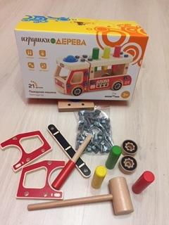 Деревянный конструктор-пожарная машина 2 в 1