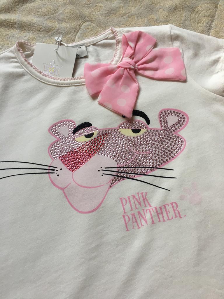 Новые футболки для девочки розовая пантера 122