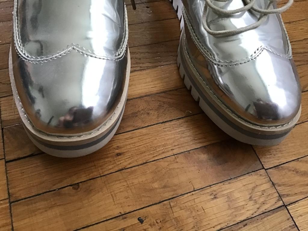 Серебрянные полуботинки Zara размер 35