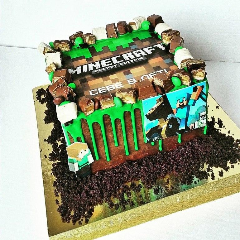 детский торт майнкрафт #6