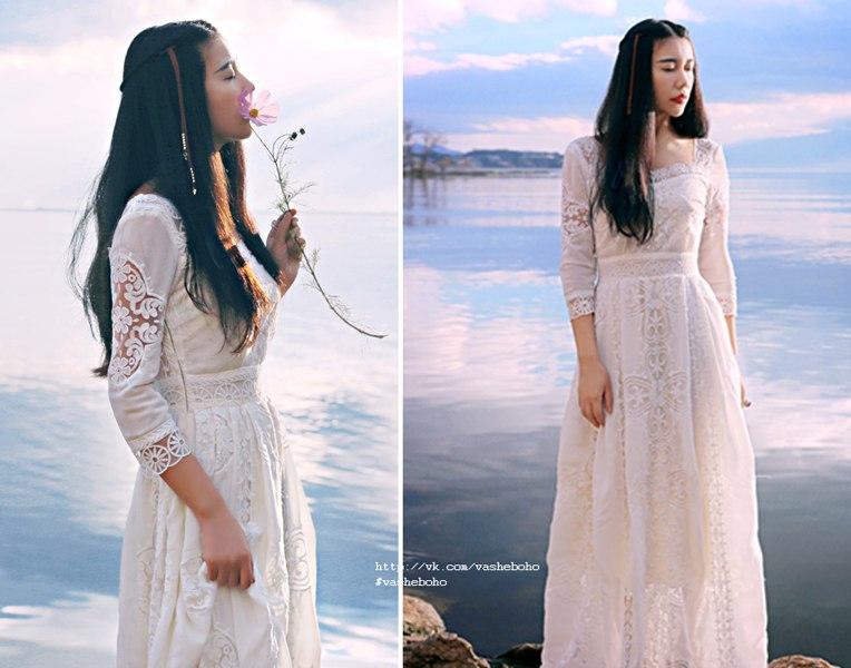 Купить белое платье бохо