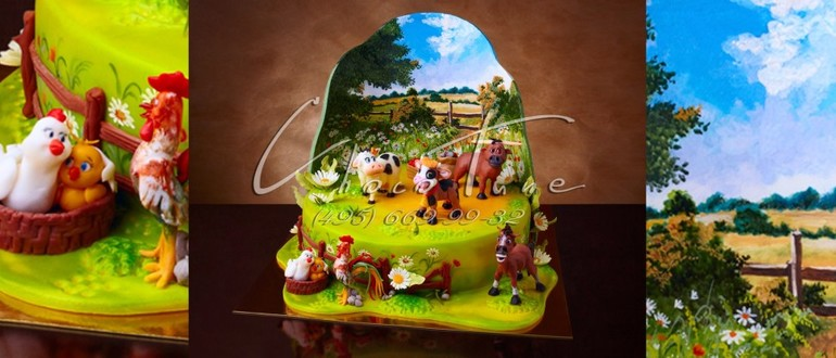 Оформление детского торта домик фото