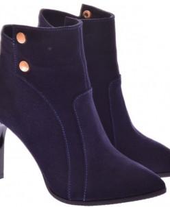Женские замшевые ботинки на каблуке (байка/экомех/цигейка)