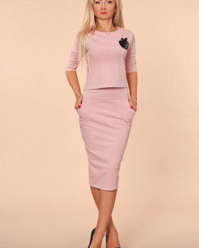Костюм № 629-бледно-розовый