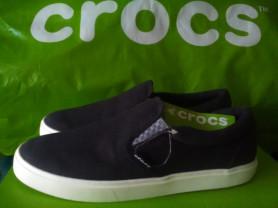 Crocs  слипоны, новые, черные, джинсовые