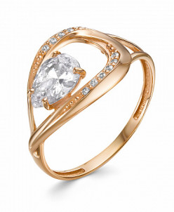 0651 Кольцо с фианитом позолоченное серебро 925*
