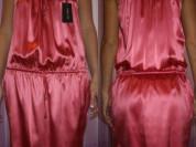 Платье сарафан новое Patricia Pepe Италия размер 44 46 М розовое коралловое шёлк атлас стрейч мини вечернее на выпускной бал нарядное
