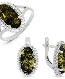 Гарнитур из серебра с зеленым янтарём и фианитами родированн