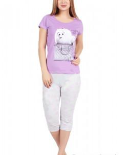 Пижама женская Пушистик (бриджи и футболка) (кулирка)