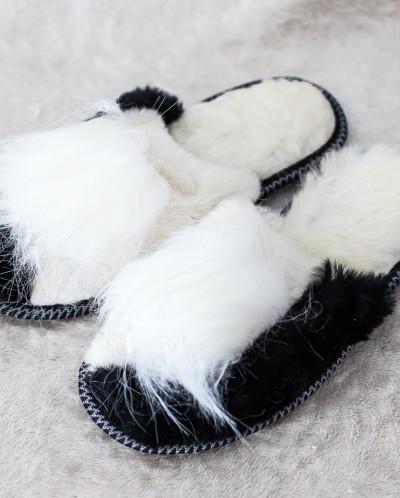 Тапочки женские Бело-Черные. 100% овчина
