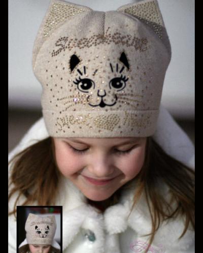 """Вязаная шапка """"my lovely cat"""" (весна/осень) беж ."""
