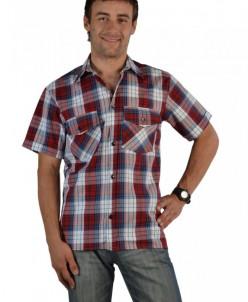 Мужская рубашка шотландка короткий рукав