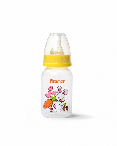 6871 FISSMAN Бутылочка для кормления 120 мл, цвет ЖЕЛТЫЙ (пл