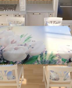 Фотоскатерть Белые тюльпаны с мимозой 145*200 Габардин