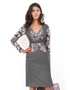 Платье серое с трикотажной отделкой
