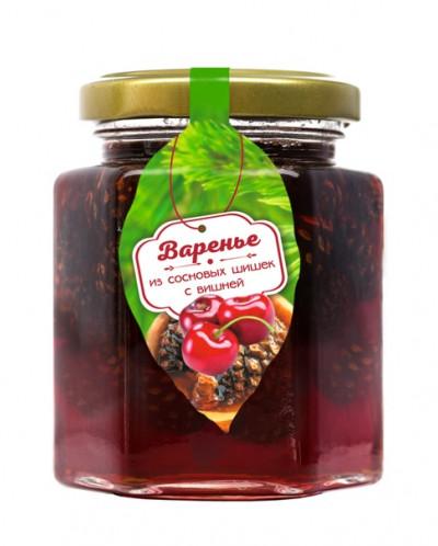 Варенье из сосновой шишки с ягодами вишни, 240 г
