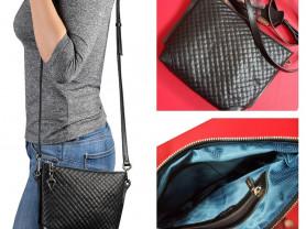 Новая кожаная черная сумка Италия