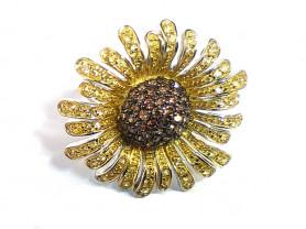 Серебряное кольцо 925 пробы в виде цветка с фианит
