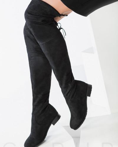 Замшевые ботфорты-чулки