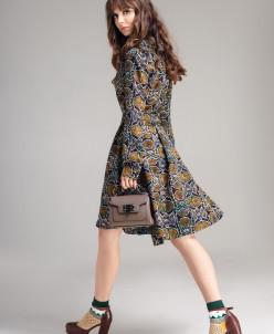Р1109 платье Цвет: оливковый принт