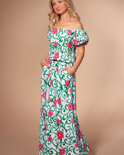 Платье № 851-молоч-бирюза